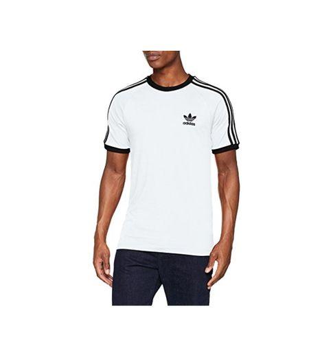 adidas Tres Bandas Camiseta de Manga Corta, Hombre, Blanco