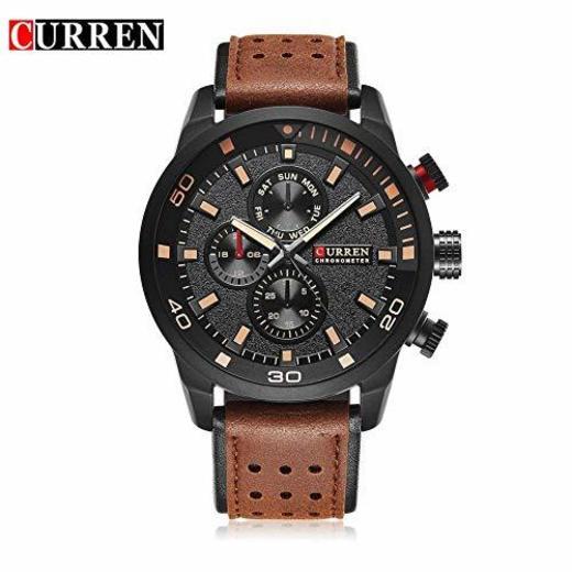 JYZ Curren M8250 Reloj de Correa de Cuero para Hombre Reloj mecánico