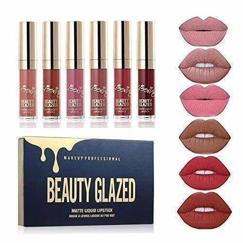 Beauty Sexy 6PCS/brillo de labios mate Sexy líquido Lipstick impermeable larga duración
