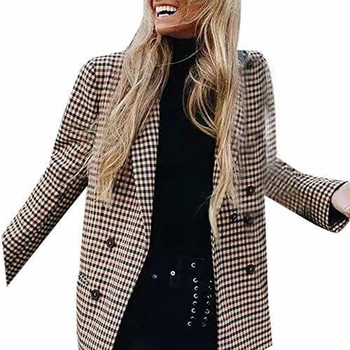 Elegantes Mujer Patchwork Traje Blazer Chaqueta Americana Chaqueta Abrigos Otoño Moda A