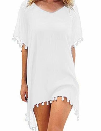 Mujer Ropa de Baño Suelto Vestido de Playa Borla Verano Camisolas y