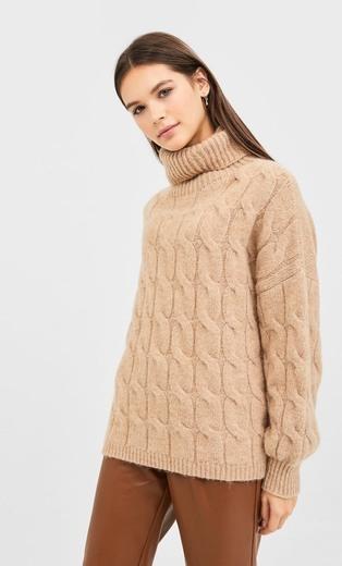 Sweater de malha entrançado com manga tipo balão