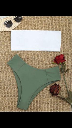 Conjunto de biquíni bandeau de corte alto com dois tons