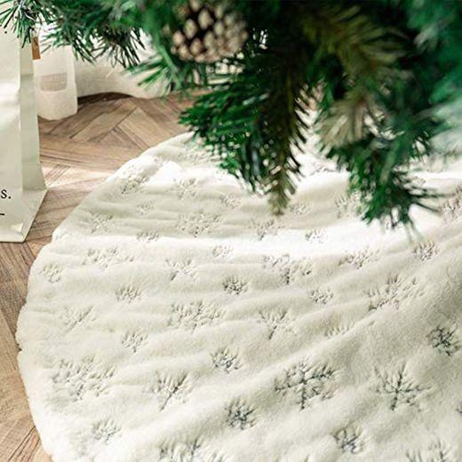 Blanca Faldas para el Árbol de Navidad con Copos de Nieve Plata,