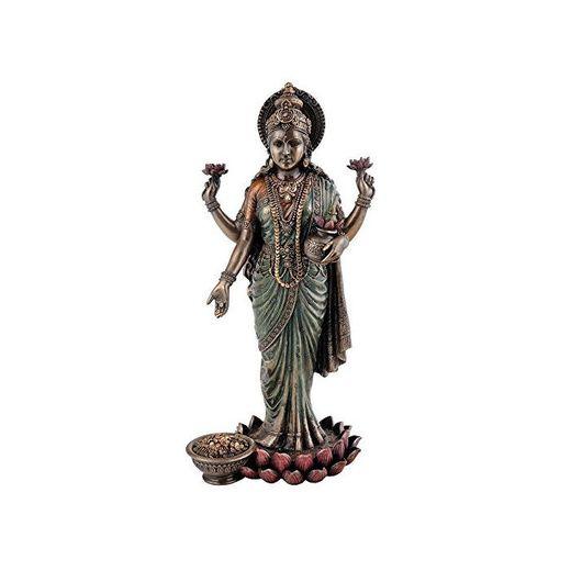 CraftVatika diosa hindú laxmi de pie Idol–Estatua de bronce fundido fría Devi