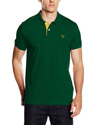 GANT Contrast Collar Pique SS Rugger Polo, Verde