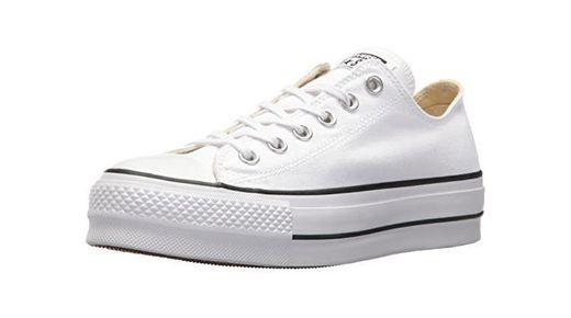 Converse Chuck Taylor CTAS Lift Ox Canvas, Zapatillas para Mujer, Blanco