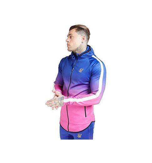 Sik Silk Athlete Fade Zip Through Hoodie – Blue Neon