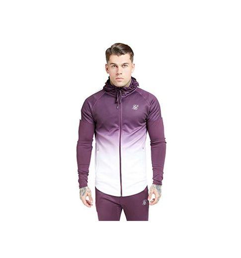 Sik Silk  Athlete Hybrid Zip Through Hoodie – Rich Burgundy Fade
