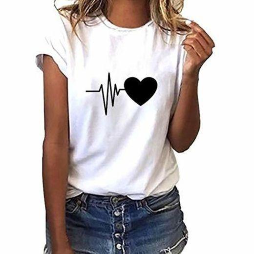 Luckycat Camisetas Para Mujer Patrón Impreso Crop Top Chica Joven Casual De