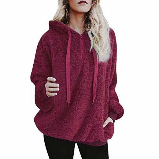 Mujer Sudadera Caliente y Esponjoso Tops Chaqueta Suéter Abrigo Jersey Mujer Otoño-Invierno