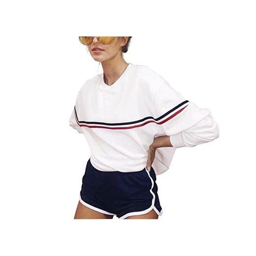 Blanco Rosa Sudaderas Mujer Largas Tumblr Invierno Raya Basicas Moda Sweatshirt Suéter