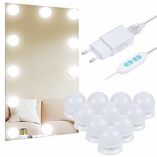 Anpro Luces LED Kit de Espejo con 10 Bombillas regulables