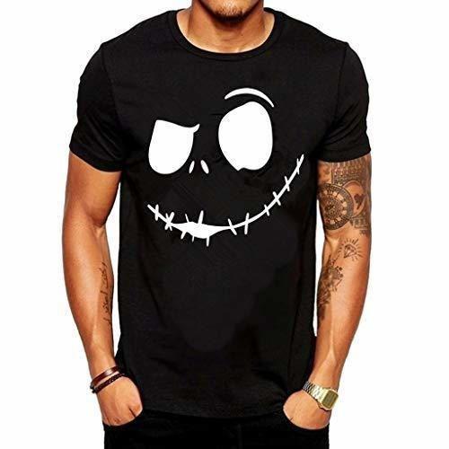 Camisetas Hombre Lanskirt Camisas de Manga Corta con Cuello Redondo y Estampado