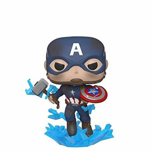 Funko- Pop Marvel: Endgame-Captain America w/BrokenShield & Mjolnir Capt A w/BrokenShield&Mjolnir Colctib