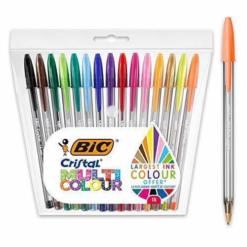 BIC Cristal Multicolour - Pack de 15 unidades, bolígrafos de punta ancha