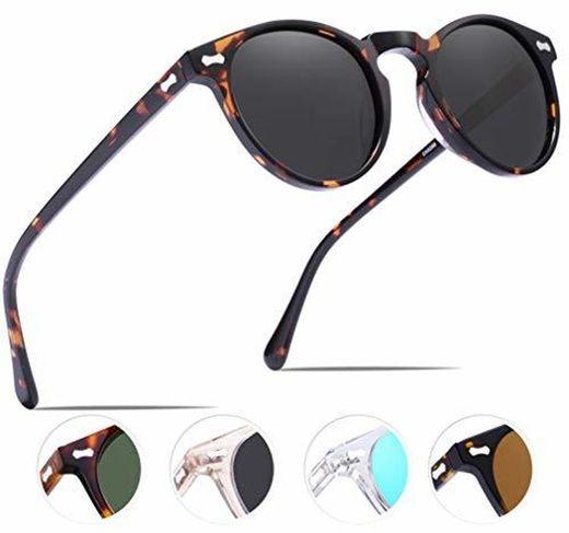 Carfia Vintage Polarizadas Gafas de Sol Mujer Hombre UV400 Protección para Viajes