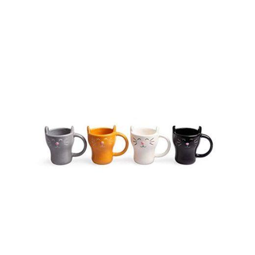 Balvi Set café Meow! 4 Tazas con Forma de Gato Capacidad: 90ml