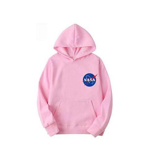 OLIPHEE Sudaderas con Capucha Color Sólido con Logo de NASA para Fanáticos