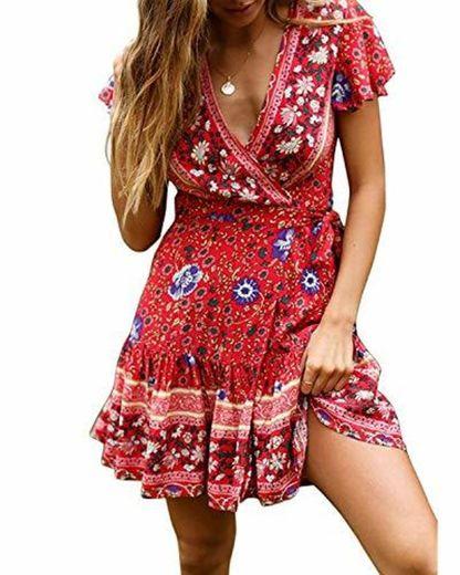 Abravo Mujer Vestido?Bohemio Corto Florales Nacional Verano Vestido Casual Magas Cortas Chic