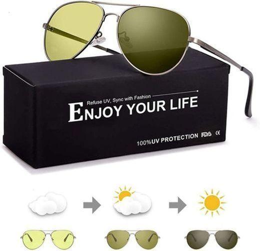 SODQW Gafas de Sol Fotocromaticas Polarizadas Hombre con Nocturna Conducción y Deporte,