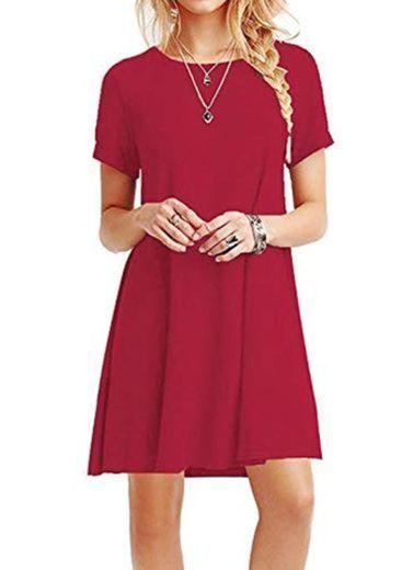 YOUCHAN Vestidos Mujer de Camiseta Suelto Casual Cuello Redondo Ocasional Sólida Mini Vestido_Rojo_L