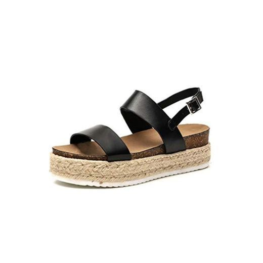Sandalias Mujer Cuña Piel Plataformas Alpargatas Punta Abierta 5 CM Tacon Verano Tobillo Hebilla Zapato de Playa Moda Fiesta Negro 39