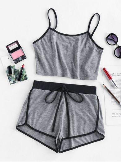 ZAFUL Contrast Trim Camisole And Dolphin Shorts Set - Gray M