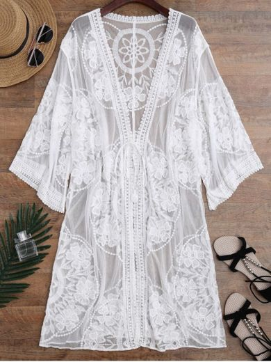 [48% OFF] [HOT] 2020 Sheer Lace Tie Front Kimono Cover Up In ...