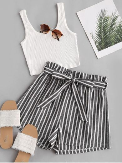Ribbed Tank Top And Striped Print Paperbag Shorts Set - White L