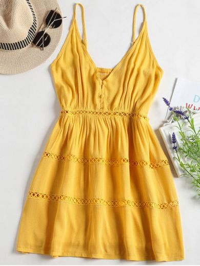 [44% OFF] [HOT] 2020 Hollow Out A Line Cami Dress In YELLOW ...