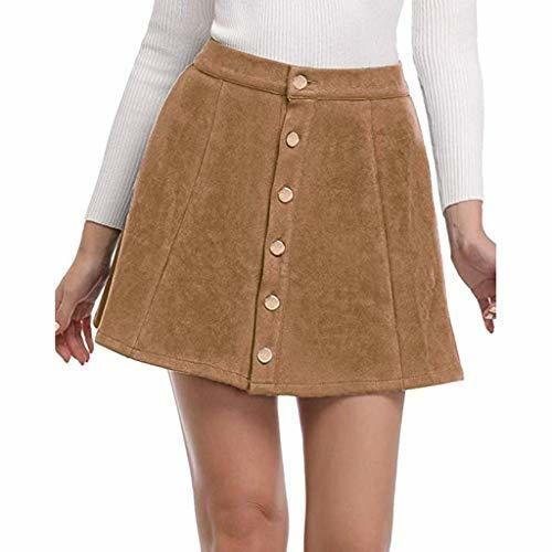 Falda con Botones de Terciopelo para Mujer Moda Casual Basica Negocio Oficina