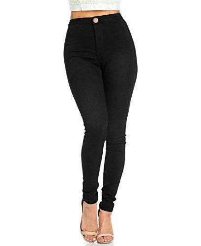Jyone Pantalones vaqueros con cintura alta para mujer L Negro