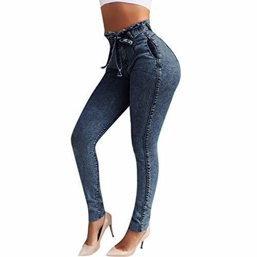 RISTHY Jeans Skinny Push-Up Mujer Vaqueros Pantalones Elásticos Jeans Denim Largo Mujer
