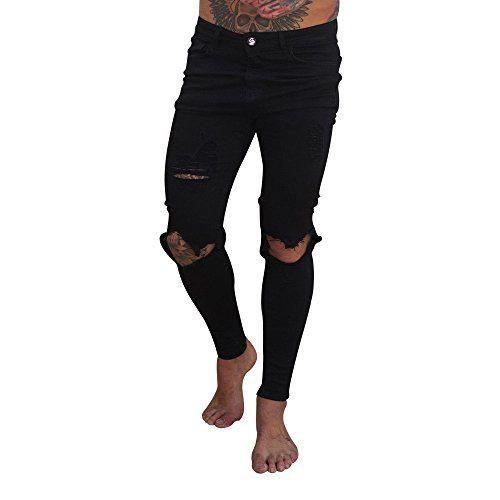 Gusspower Pantalones Vaqueros Hombres Rotos Pitillo Slim Fit Skinny Pantalones Casuales Elasticos