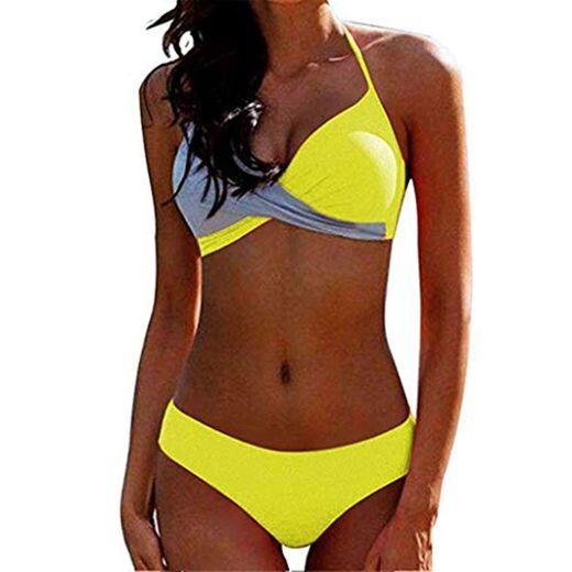 CheChury Bikinis Mujer 2020 Push Up Halter Bikini Traje de baño Acolchado Bra Tops y Braguitas Bikini Sets Talla Grande Bañador Vacaciones