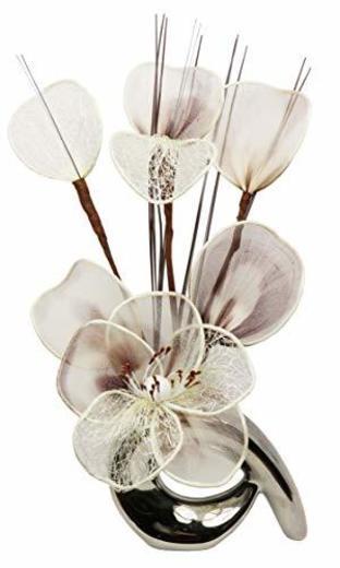 Flourish 798529 - Jarrón con diseño de flores crema de café