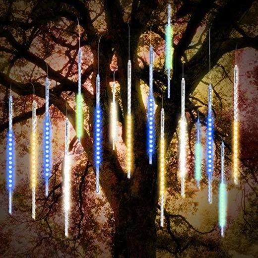 ohCome Lluvia de Meteoros Lluvia Gotas Luces 50cm 10 Tubos Espirales 540