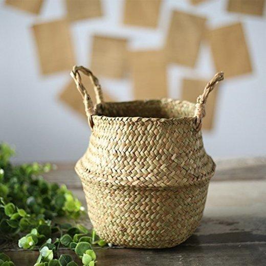 SODIAL Seagrass cesta de cesteria de mimbre plegable colgante maceta de flores