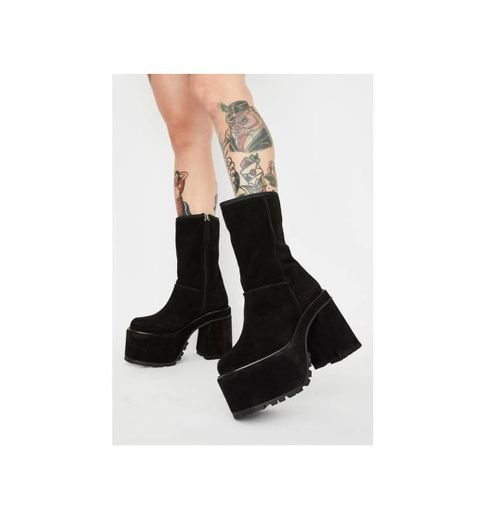 Current Mood Chunky Platform Lace Up Ankle Boots Tonal Black