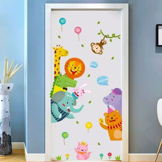 Cartoon Cute Animals Door stickers Anime Wall Stickers for