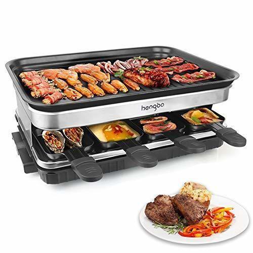 Raclette Grill con 8 Mini Sartenes Revestimiento Antiadherente Regulador de Temperatura para