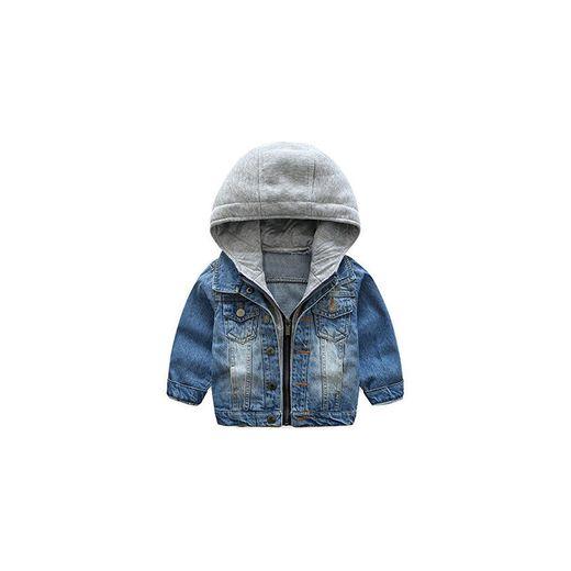 Odziezet Chaqueta Vaquera Niño Niña Demin Jacket con Capucha Abrigo Bebé Camisa