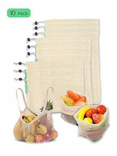 CompraFun Bolsas Reutilizables de Compra, Bolsas de Malla de Algodón Lavables y