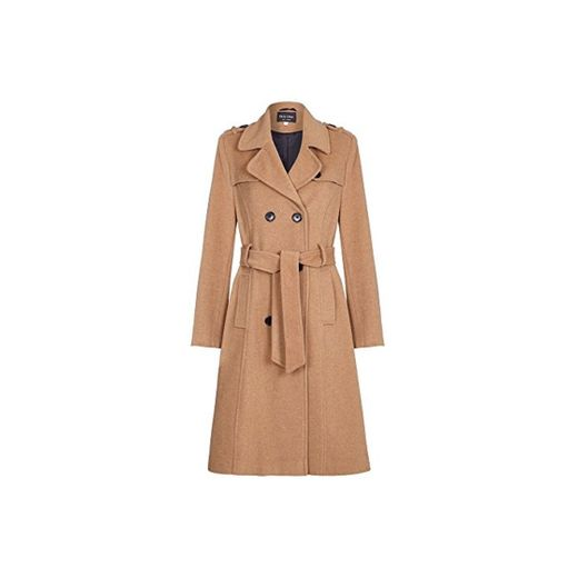De La Crème - Womens Wool & Cashmere Belted Long Military Trench
