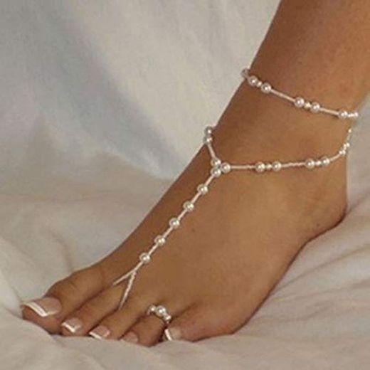 JINGRU 40cm Cadena de Tobillera Mujer Pulsera de Tobillo Perla de imitación Sandalia descalzaFemininas Mujeres Niñas Joyería de pie