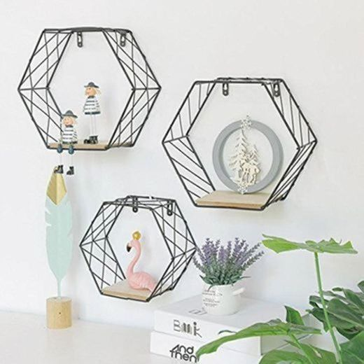 Estante de pared de hierro geométrico hexagonal para colgar en la pared