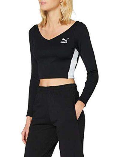 PUMA Classics Ribbed Longsleeve Cropped Top Camiseta