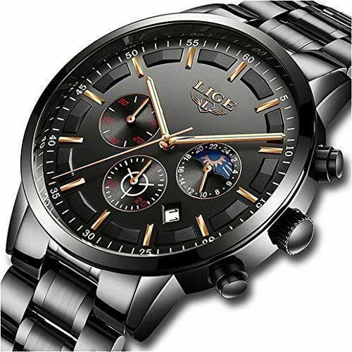 LIGE Relojes para Hombre Moda Acero Inoxidable Deportivo Analógico Reloj Cronógrafo Impermeable