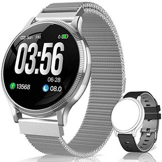 BANLVS Reloj Inteligente, Smartwatch IP67 1.22 Pulgadas Pulsómetro, Monitor de Sueño, Presión